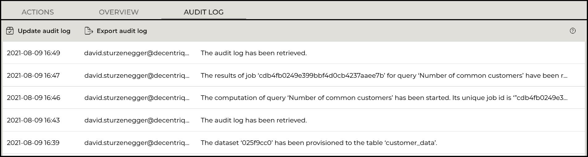 Improved audit log
